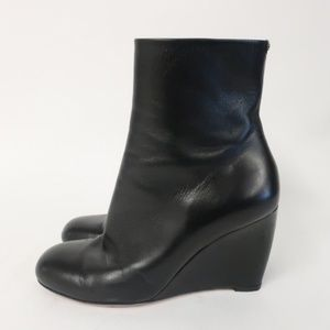 Gucci Wedge Ankle Boots Charlene Black Leather